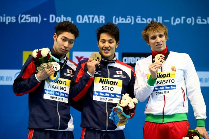 competes in the         on day two of the 12th FINA World Swimming Championships (25m) at the Hamad Aquatic Centre on December 3, 2014 in Doha, Qatar